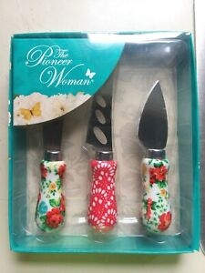 New - The Pioneer Woman - Vintage Floral 3 Piece Cheese Knife Serving Set - NIP