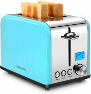 REDMOND Toaster 2 Slice, Stainless Steel Wide Slot Toaster LCD Countdown Timer