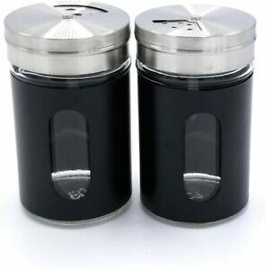Best HOME Premium Glass Salt and Pepper Shakers Dispensers Set with Stainless St