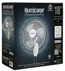 Hurricane Supreme 18in Oscillating Wall Mount Fan 3 Speed