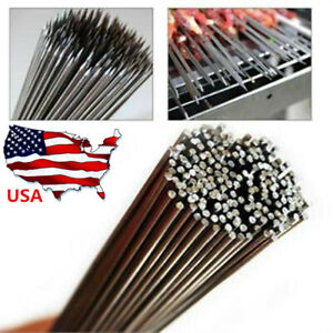 50Pcs Stainless Steel Barbecue BBQ Skewers Needle Kebab Kabob Stick 35cm