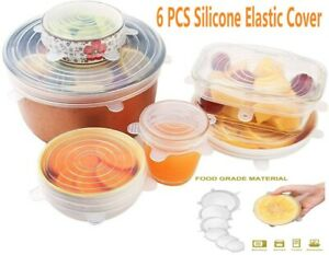 6PCS Food-grade Silicone Stretch Wrap-Bowl Lids Durable Easy Various Sizes Cover