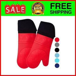 Professional Silicone Oven Mitt - 1 Pair - Extra Long Oven Mitts with