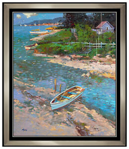 Ming Feng Painting Oil On Canvas Signed New England Water Seascape Framed Art