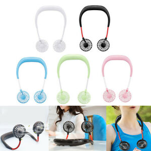 Portable USB Rechargeable Neckband Mini Fan Dual Cooling Lazy Neck Hanging Style