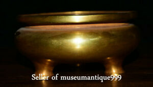 6.4 Ming Dynasty Xuande Marked Old Purple Bronze 24K Gilt incense burner Censer