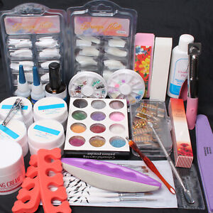 Nail Art Full Tool Set UV Gel Tips Top Coat Glue Sanding File Glitter Powder Set $25.08