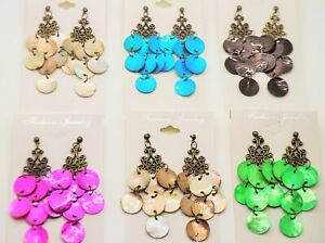 Lot of 6 12 pcs winter shell color drop dangle fashion wholesale earrings lot 2
