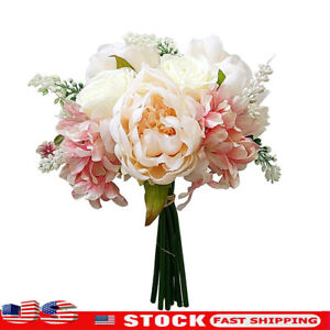 Artificial Bouquet Peony 8 Heads Flower Fake Leaf Home Wedding Party Decoration