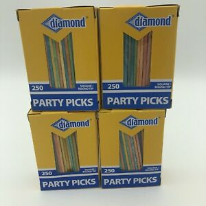 Diamond 250 Square/Round Tip Colored Party Toothpicks LOT OF FOUR 4 Boxes NEW