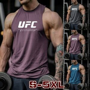 Fashion Men Gym Tops UFC Letter Print Tank Vest Sleeveless Casual Loose T Shirt $12.47