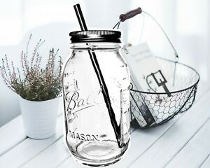 Smoothie Cup/Ice Coffee Cup Mason Drinking Jar with Stainless Steel Straw 32oz