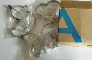 Set of 3 New AVON Figural Pancake Molds HEART DUCK BUTTERFLY Stainless Steel