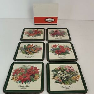 Vintage Pimpernel Deluxe Finish Coaster Set of 6 Caribbean Flowers New Old Stock $19.97