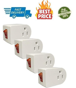 Grounded Outlet Wall Tap Adapter On/Off Power Switch Plug Prong Electrical 4 Pcs