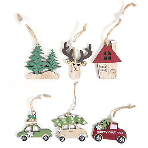 6 PCS Christmas Hanging Ornament Wooden Toy Xmas Tree Decor Bauble Set Car Tree