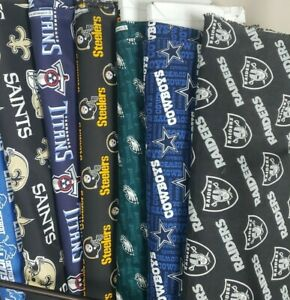 NFL Football Cotton Fabric By The 1 4 YARD PICK TEAM for Mask 9quot;L x 44quot; 58quot;W