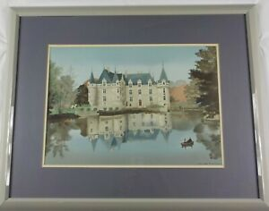 Original Stone Signed Lithograph Azay Le Rideau by Michel Delacroix Listed $200.00