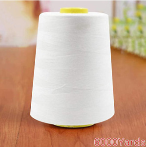 6000 Yard Spool WHITE Sewing Thread All Purpose 100% Polyester $8.95