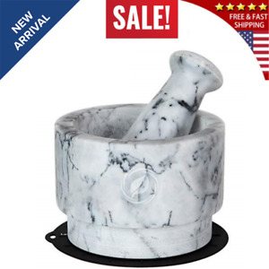 Mortar and Pestle Set Marble - 5.6 Inch, 2.2 Cup -r Bowl Solid Stone Grinder