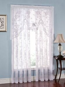 Abbey Rose Lace Floral Curtains - White {BRAND NEW}
