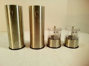 Electric Salt and Pepper Mill Set Rechargeable Brushed Stainless Steel Cuisinart