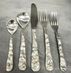 5-pc Michael Aram Stainless CAST IRON Pounded Flatware Fork Spoon Knife (1992)