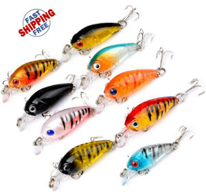 LOT of 9 Fishing Lures Hard Minnow Crankbait Hard Swimbait BASS CRAPPIE