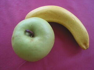 TWO Items Vintage Realistic Stone Fruit Apple 3 inches & Banana about 6 inches