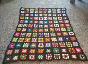 Beautiful Rainbow Colored Crocheted Afghan Throw 6'x5' ft Blanket Granny Square
