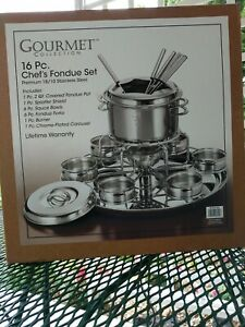Fondue Set for 6 - Stainless Steel - with Alcohol Burner