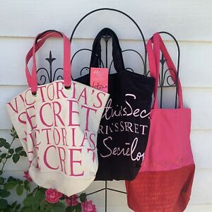 Victorias Secret Tote Bags Lot Of 3 NWT PINK Purse