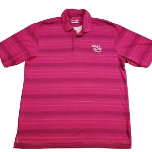 Under Armour Heat Gear Polo Shirt Mens Sz Large Loose Fit Golf Tee Pink Striped $13.50