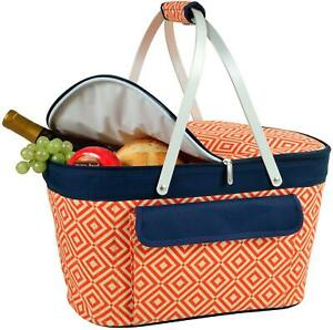 (D) Collapsible Insulated Basket Cooler, Picnic Backpack Bag (Orange)