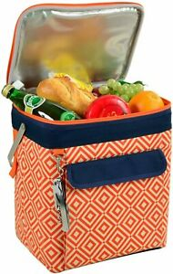 (D) Beverage and Food Cooler, Picnic Backpack Bag with Corkscrew (Orange)