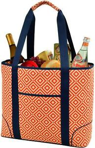 (D) Extra Large Insulated Cooler Tote, Picnic Backpack (Orange)