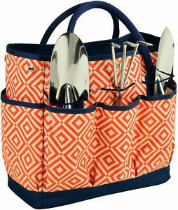 (D) Garden Tote and Tools Set Picnic Backpack Bag, Full Equipment Set (Orange)