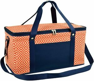 (D) Folding 72 Can Cooler, Picnic Backpack Bag for Outdoor (Orange)