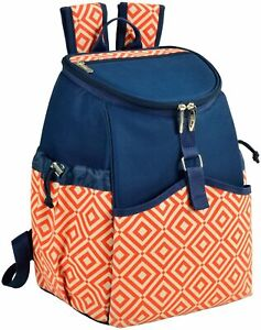 (D) Insulated 22 Can Cooler Backpack Bag for Outdoor (Diamond Orange)