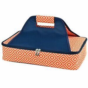 (D) Thermal Food Carrier, Pie or Cake Backpack Bag for Picnic (Orange)