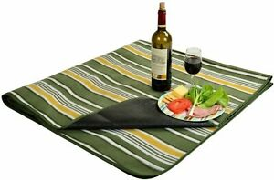 (D) Picnic Blanket with Water Resistant, Backpack Bag for Outdoor (Green Stripe)