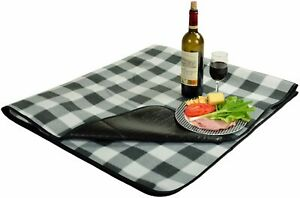 (D) Picnic Blanket with Water Resistant, Backpack Bag for Outdoor (Gray)