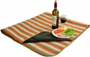 (D) Picnic Blanket with Water Resistant Backpack Bag for Outdoor (Orange Stripe)