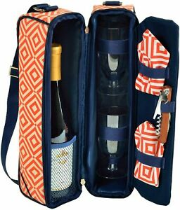 (D) Wine Carrier, Picnic Backpack Bag, Small Set for Outdoor (Orange)