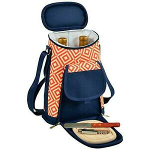 (D) Wine and Cheese Cooler, Picnic Backpack Bag, for Outdoor (Orange)