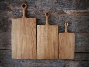 Wooden Oak Chopping Boards with Handle | Set of 3 Rustic Cutting Boards