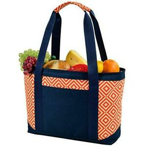 (D) Large Insulated Cooler Tote, Picnic Backpack Bag for Outdoor (Orange)