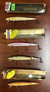 FOUR VERY OLD Vintage Rebel Fishing Lures Sinker Broken-Back Gold Minnow Boxes