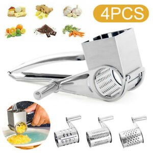 Stainless Steel Cheese Grater Hand Crank W/3 Blades Vegetable Grinder Tool