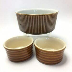 Emile Henry French Ribbed Oven Proof Custard Cups Brown Set of 2 + Soufflé Dish